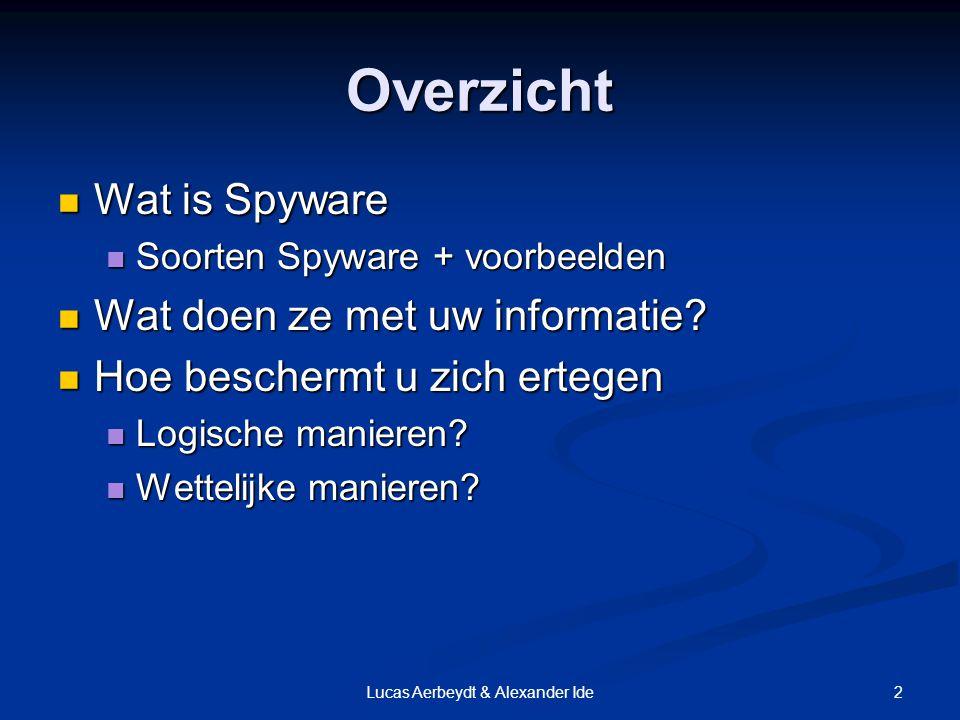 2Lucas Aerbeydt & Alexander Ide Overzicht Wat is Spyware Wat is Spyware Soorten Spyware + voorbeelden Soorten Spyware + voorbeelden Wat doen ze met uw informatie.