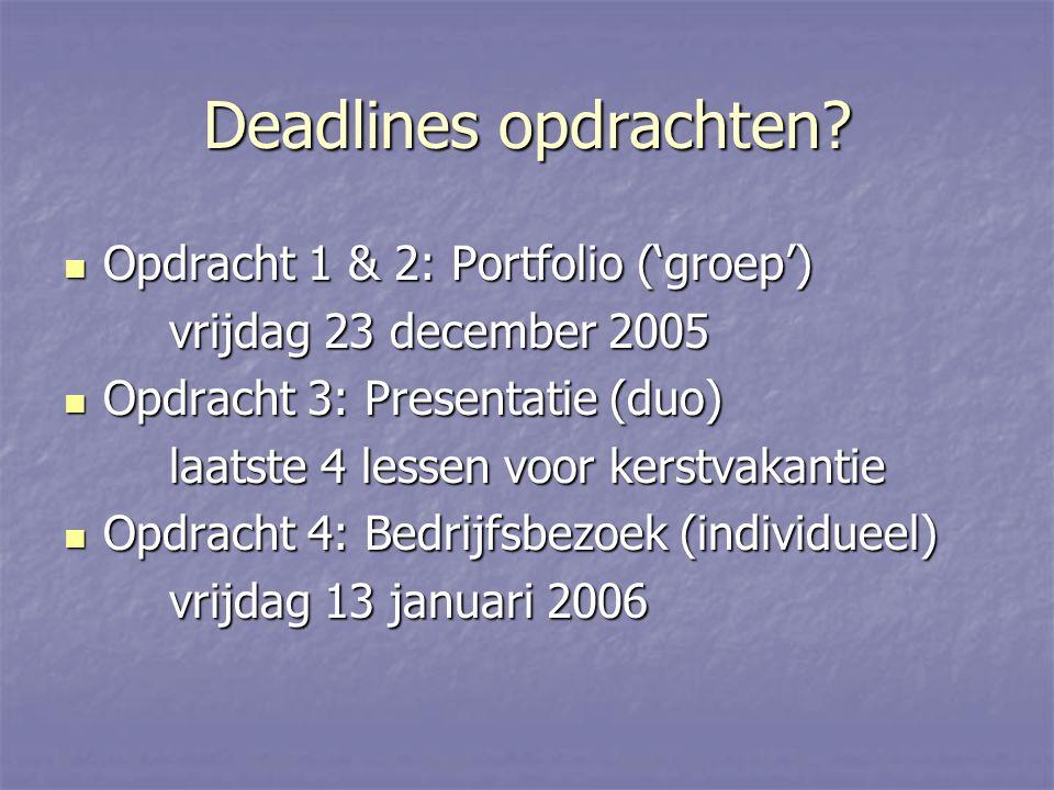 Deadlines opdrachten.