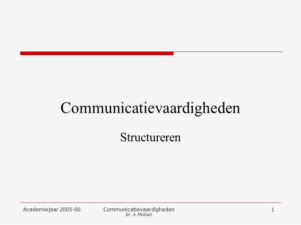 Academiejaar 2005-06 Communicatievaardigheden Dr. A. Mottart 1 Communicatievaardigheden Structureren
