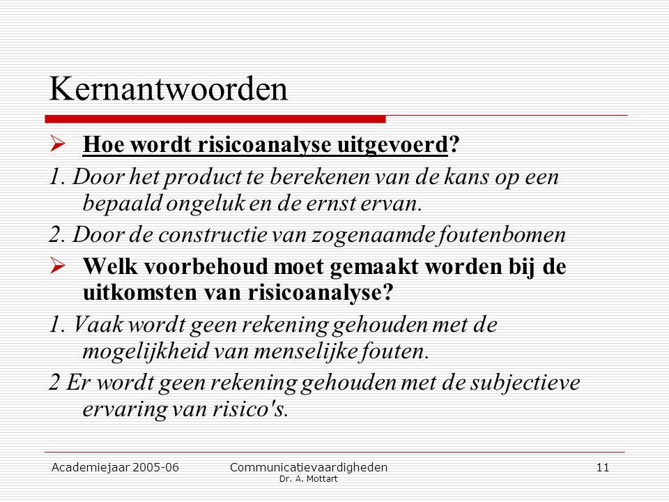 Academiejaar 2005-06 Communicatievaardigheden Dr. A. Mottart 11 Kernantwoorden  Hoe wordt risicoanalyse uitgevoerd? 1. Door het product te berekenen
