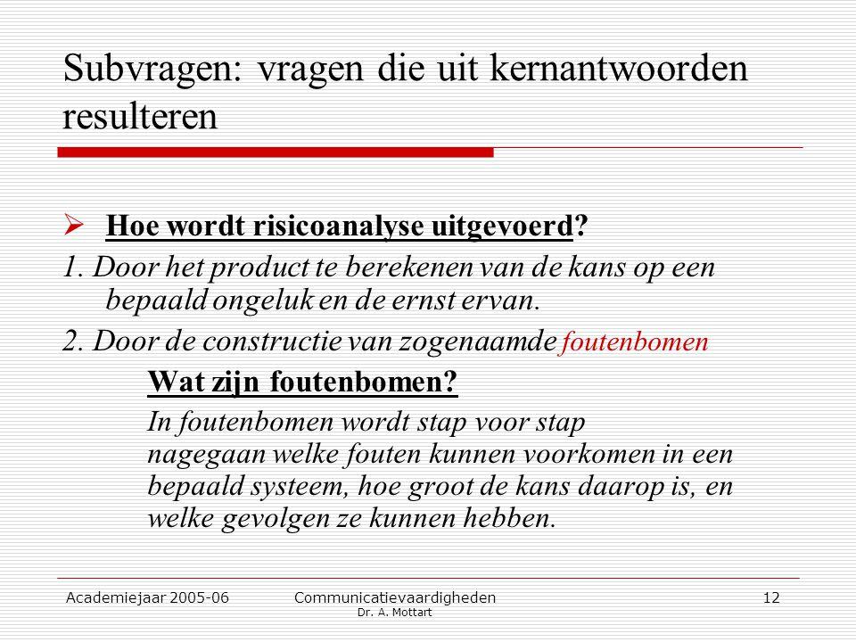 Academiejaar 2005-06 Communicatievaardigheden Dr. A. Mottart 12 Subvragen: vragen die uit kernantwoorden resulteren  Hoe wordt risicoanalyse uitgevoe