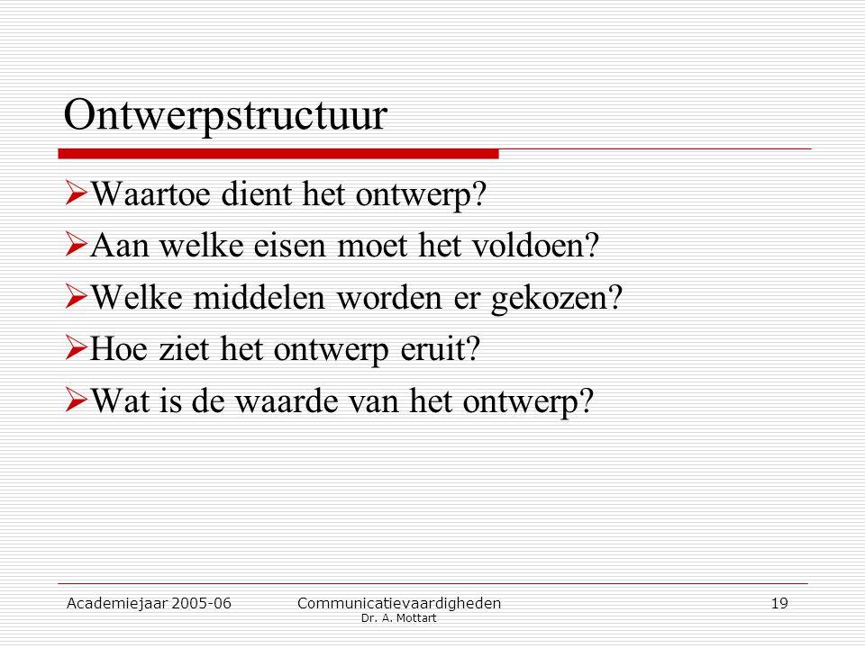 Academiejaar 2005-06 Communicatievaardigheden Dr. A. Mottart 19 Ontwerpstructuur  Waartoe dient het ontwerp?  Aan welke eisen moet het voldoen?  We