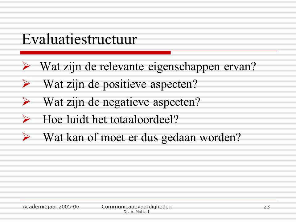 Academiejaar 2005-06 Communicatievaardigheden Dr. A. Mottart 23 Evaluatiestructuur  Wat zijn de relevante eigenschappen ervan?  Wat zijn de positiev