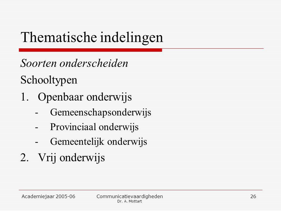 Academiejaar 2005-06 Communicatievaardigheden Dr. A. Mottart 26 Thematische indelingen Soorten onderscheiden Schooltypen 1.Openbaar onderwijs -Gemeens