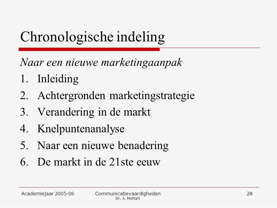 Academiejaar 2005-06 Communicatievaardigheden Dr. A. Mottart 28 Chronologische indeling Naar een nieuwe marketingaanpak 1.Inleiding 2.Achtergronden ma