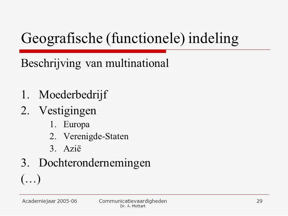 Academiejaar 2005-06 Communicatievaardigheden Dr. A. Mottart 29 Geografische (functionele) indeling Beschrijving van multinational 1.Moederbedrijf 2.V