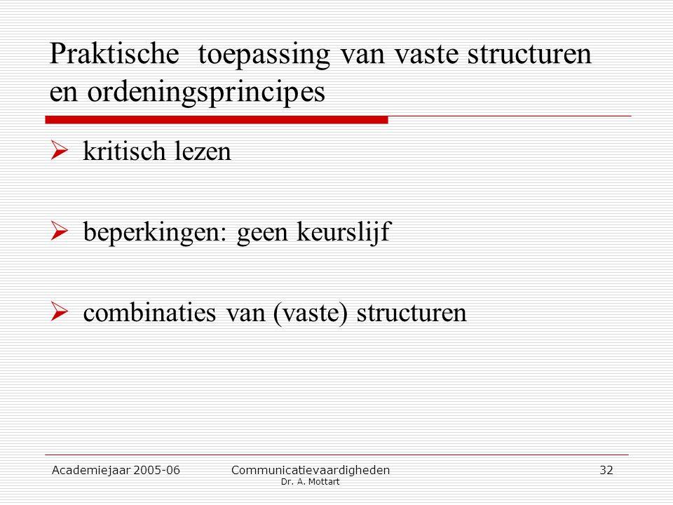 Academiejaar 2005-06 Communicatievaardigheden Dr. A. Mottart 32 Praktische toepassing van vaste structuren en ordeningsprincipes  kritisch lezen  be