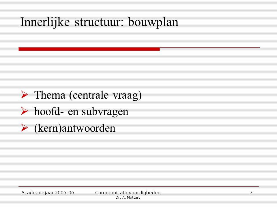 Academiejaar 2005-06 Communicatievaardigheden Dr. A. Mottart 7 Innerlijke structuur: bouwplan  Thema (centrale vraag)  hoofd- en subvragen  (kern)a