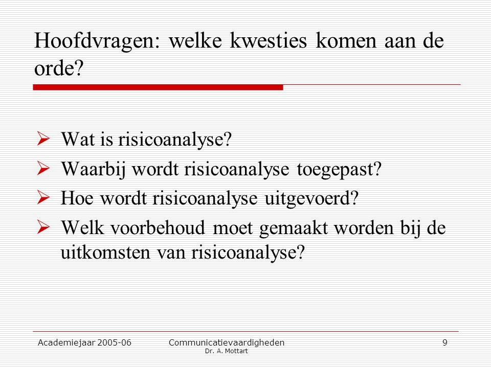 Academiejaar 2005-06 Communicatievaardigheden Dr. A. Mottart 9 Hoofdvragen: welke kwesties komen aan de orde?  Wat is risicoanalyse?  Waarbij wordt