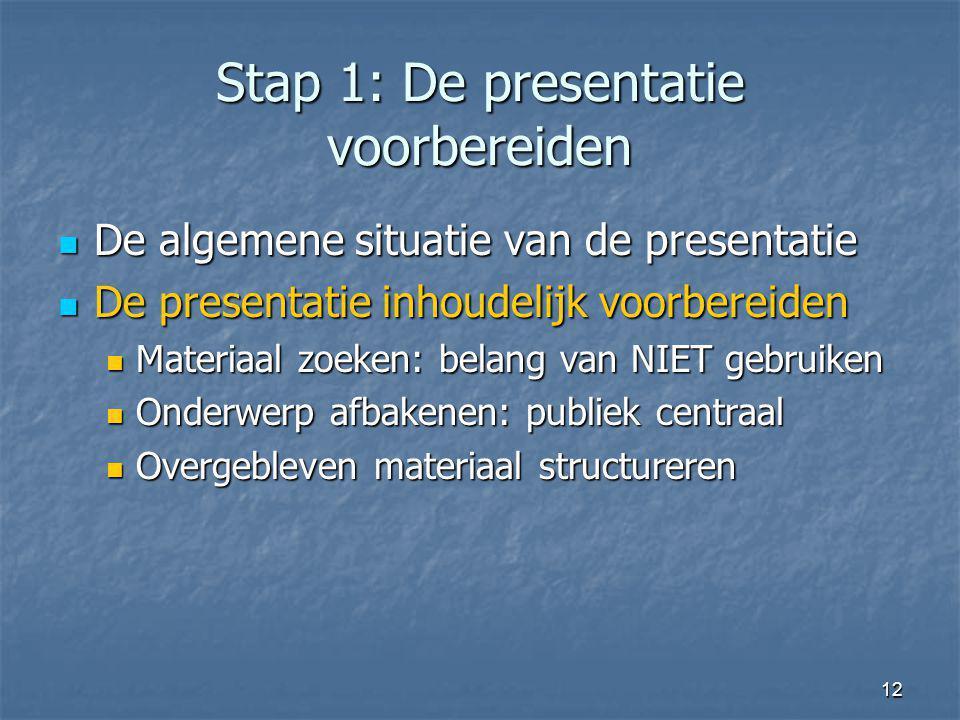 12 Stap 1: De presentatie voorbereiden De algemene situatie van de presentatie De algemene situatie van de presentatie De presentatie inhoudelijk voor