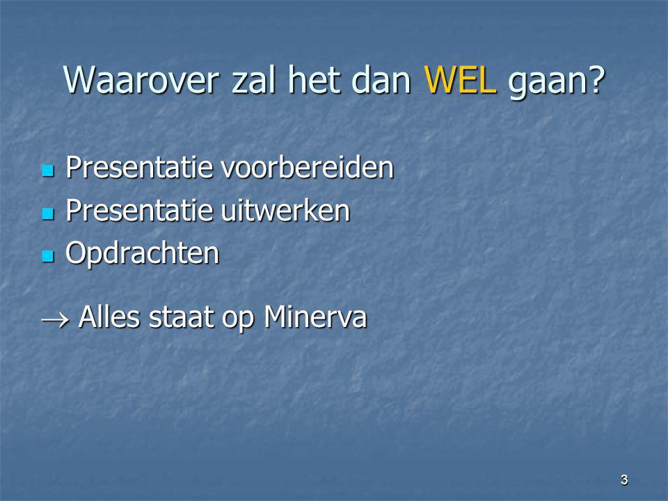 3 Waarover zal het dan WEL gaan? Presentatie voorbereiden Presentatie voorbereiden Presentatie uitwerken Presentatie uitwerken Opdrachten Opdrachten 