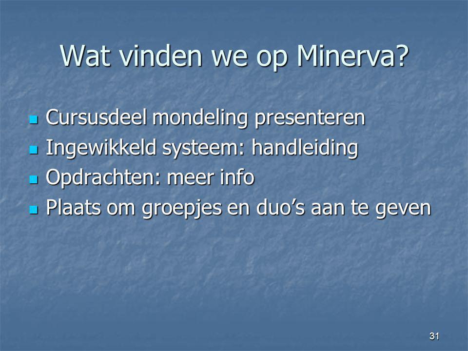 31 Wat vinden we op Minerva? Cursusdeel mondeling presenteren Cursusdeel mondeling presenteren Ingewikkeld systeem: handleiding Ingewikkeld systeem: h