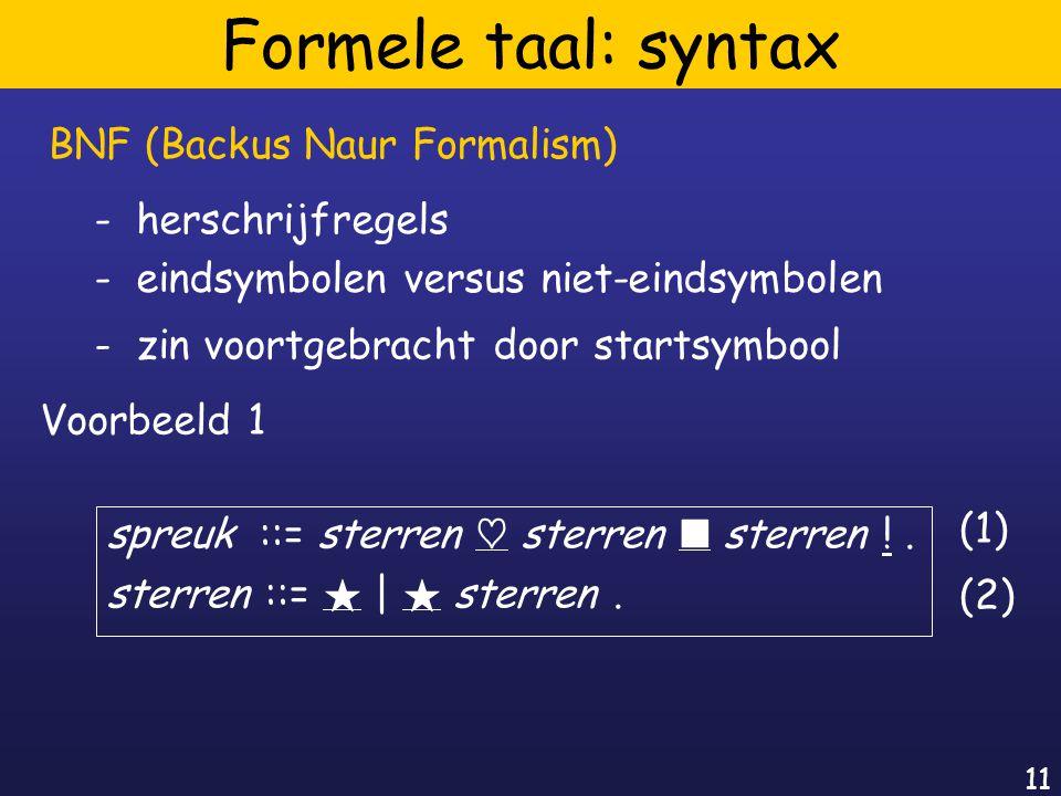 11 Formele taal: syntax spreuk ::= sterren ~ sterren ¥ sterren !.