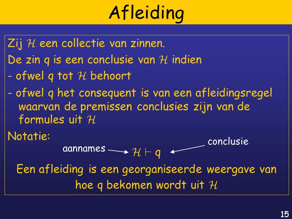 15 Afleiding Zij H een collectie van zinnen.