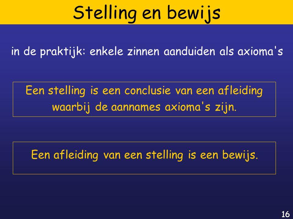 16 Stelling en bewijs Een stelling is een conclusie van een afleiding waarbij de aannames axioma s zijn.