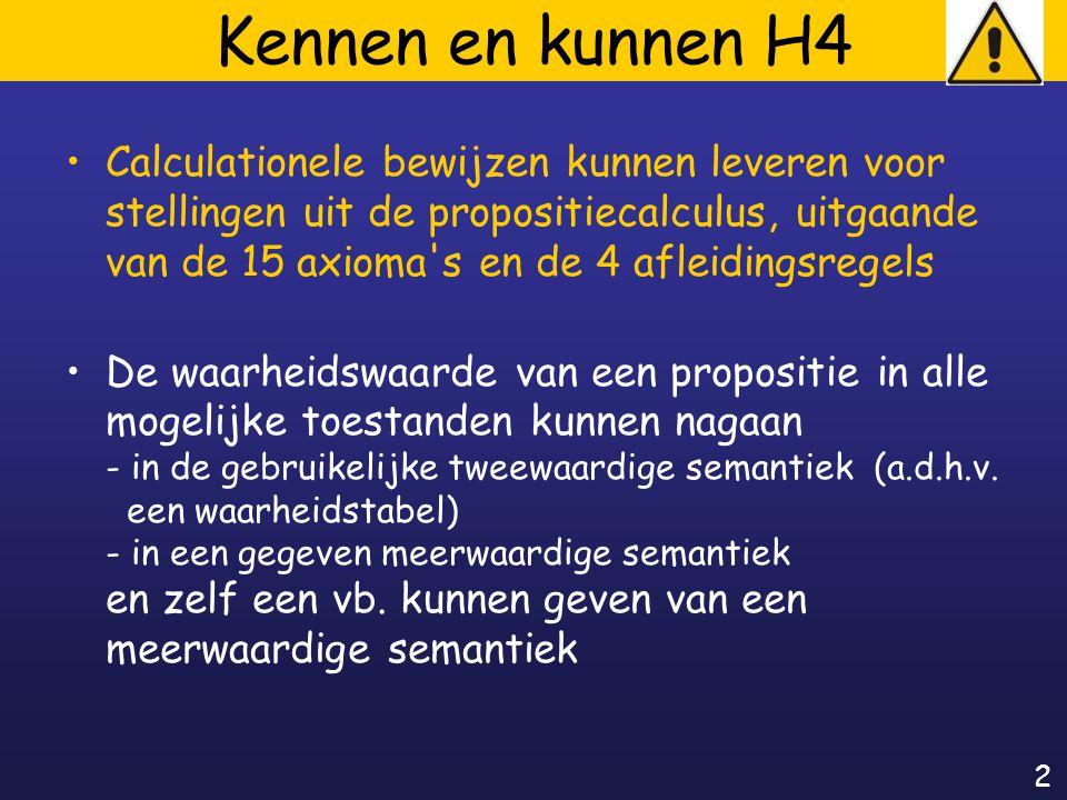 2 Kennen en kunnen H4 Calculationele bewijzen kunnen leveren voor stellingen uit de propositiecalculus, uitgaande van de 15 axioma s en de 4 afleidingsregels De waarheidswaarde van een propositie in alle mogelijke toestanden kunnen nagaan - in de gebruikelijke tweewaardige semantiek (a.d.h.v.