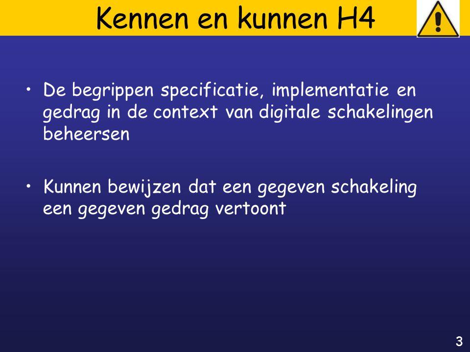 3 Kennen en kunnen H4 De begrippen specificatie, implementatie en gedrag in de context van digitale schakelingen beheersen Kunnen bewijzen dat een gegeven schakeling een gegeven gedrag vertoont
