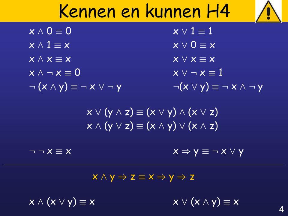 4 Kennen en kunnen H4 x Æ 0 ´ 0x Ç 1 ´ 1 x Æ 1 ´ xx Ç 0 ´ x x Æ x ´ xx Ç x ´ x x Æ : x ´ 0x Ç : x ´ 1 : (x Æ y) ´ : x Ç : y : (x Ç y) ´ : x Æ : y x Ç (y Æ z) ´ (x Ç y) Æ (x Ç z) x Æ (y Ç z) ´ (x Æ y) Ç (x Æ z) : : x ´ xx ) y ´ : x Ç y x Æ y ) z ´ x ) y ) z x Æ (x Ç y) ´ xx Ç (x Æ y) ´ x