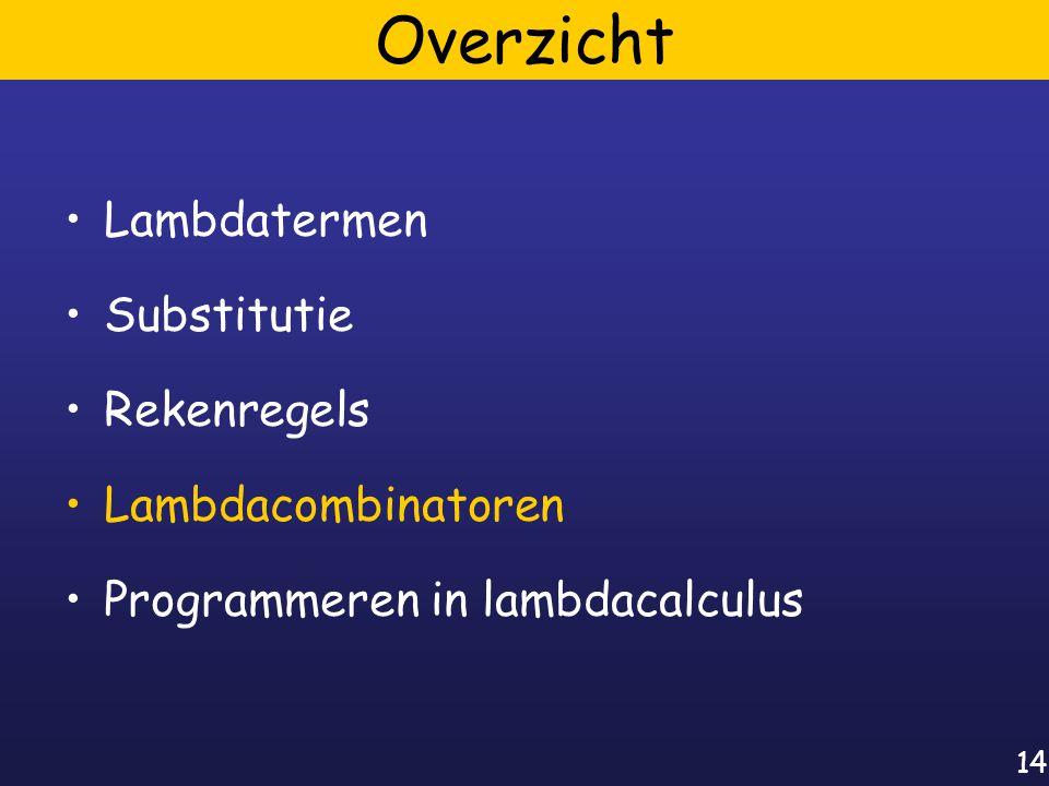14 Overzicht Lambdatermen Substitutie Rekenregels Lambdacombinatoren Programmeren in lambdacalculus