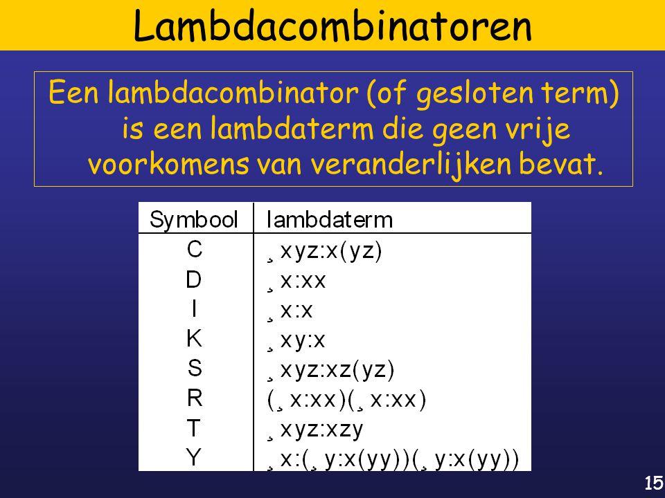 15 Lambdacombinatoren Een lambdacombinator (of gesloten term) is een lambdaterm die geen vrije voorkomens van veranderlijken bevat.