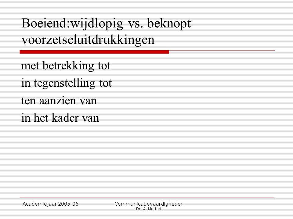 Academiejaar 2005-06 Communicatievaardigheden Dr. A. Mottart Boeiend:wijdlopig vs. beknopt voorzetseluitdrukkingen met betrekking tot in tegenstelling
