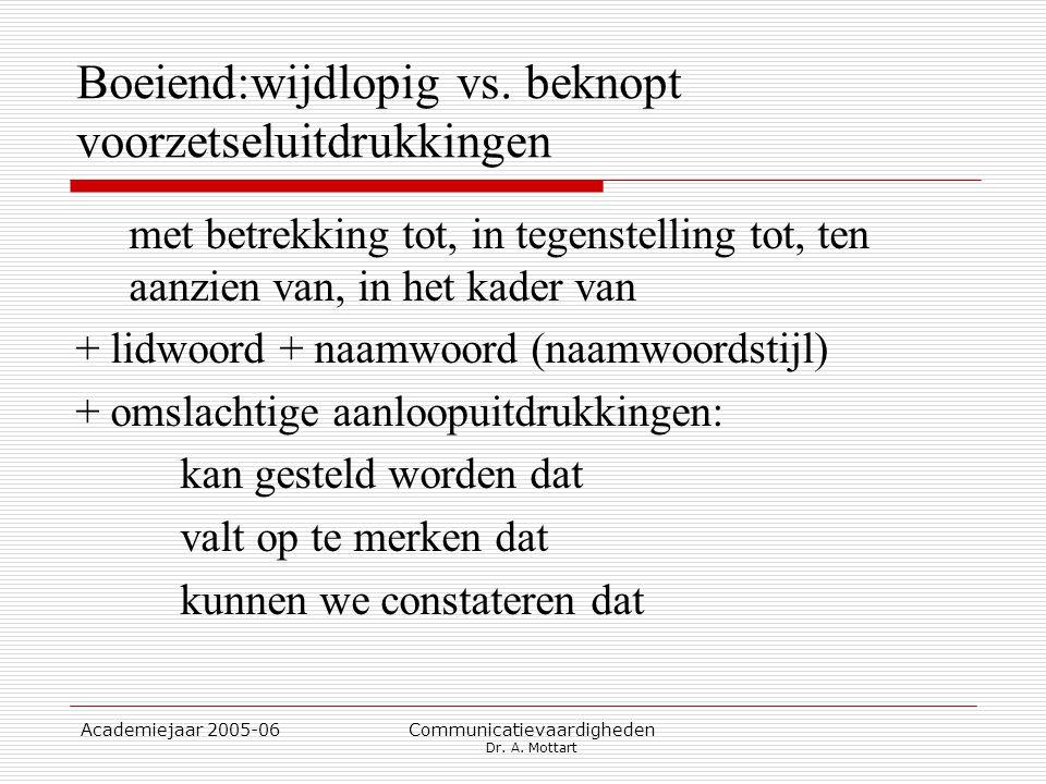 Academiejaar 2005-06 Communicatievaardigheden Dr. A. Mottart Boeiend:wijdlopig vs. beknopt voorzetseluitdrukkingen met betrekking tot, in tegenstellin