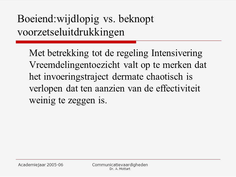 Academiejaar 2005-06 Communicatievaardigheden Dr. A. Mottart Boeiend:wijdlopig vs. beknopt voorzetseluitdrukkingen Met betrekking tot de regeling Inte