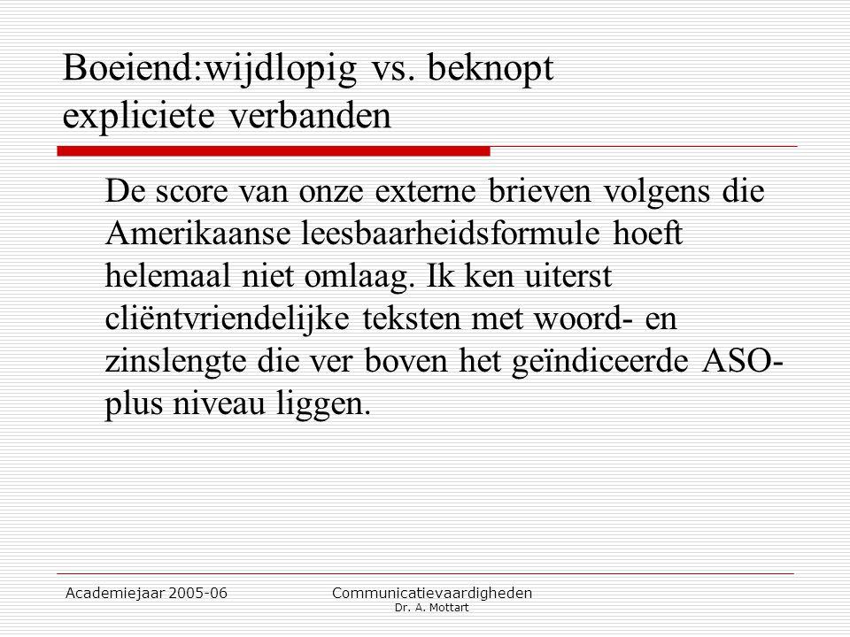 Academiejaar 2005-06 Communicatievaardigheden Dr. A. Mottart Boeiend:wijdlopig vs. beknopt expliciete verbanden De score van onze externe brieven volg