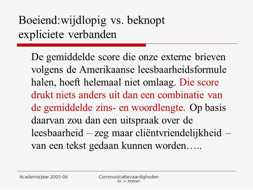 Academiejaar 2005-06 Communicatievaardigheden Dr. A. Mottart Boeiend:wijdlopig vs. beknopt expliciete verbanden De gemiddelde score die onze externe b