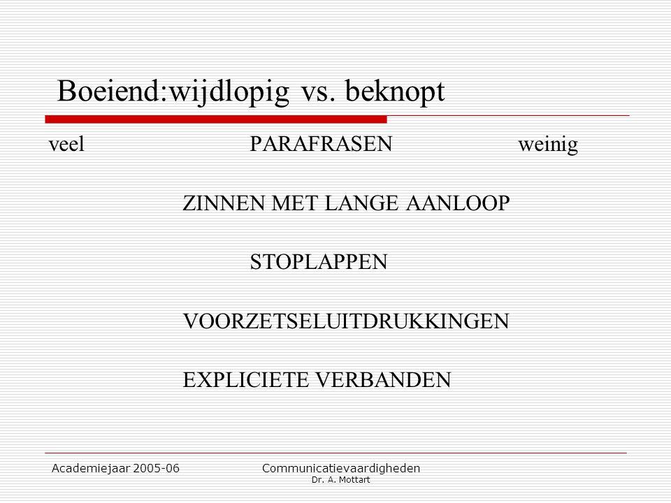 Academiejaar 2005-06 Communicatievaardigheden Dr. A. Mottart Boeiend:wijdlopig vs. beknopt veelPARAFRASENweinig ZINNEN MET LANGE AANLOOP STOPLAPPEN VO