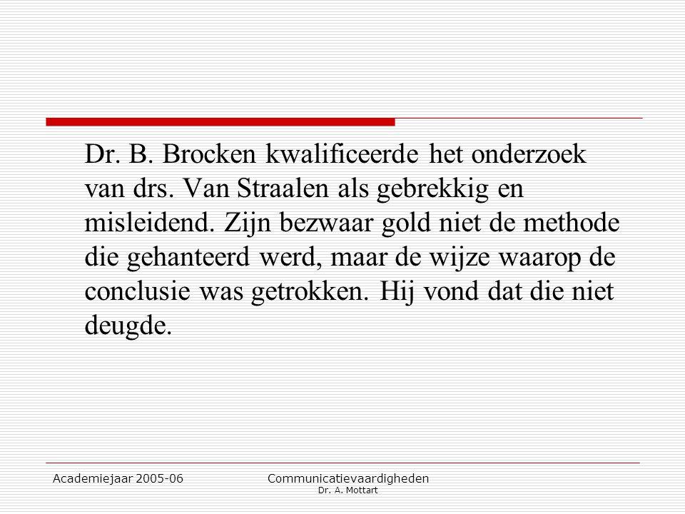 Academiejaar 2005-06 Communicatievaardigheden Dr. A. Mottart Dr. B. Brocken kwalificeerde het onderzoek van drs. Van Straalen als gebrekkig en misleid