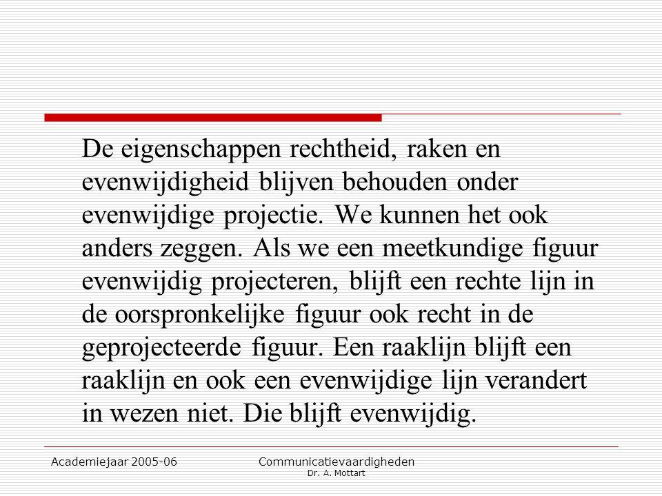 Academiejaar 2005-06 Communicatievaardigheden Dr. A. Mottart De eigenschappen rechtheid, raken en evenwijdigheid blijven behouden onder evenwijdige pr