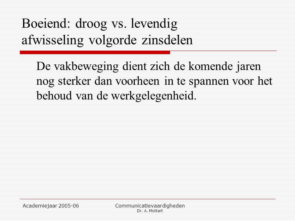 Academiejaar 2005-06 Communicatievaardigheden Dr. A. Mottart Boeiend: droog vs. levendig afwisseling volgorde zinsdelen De vakbeweging dient zich de k