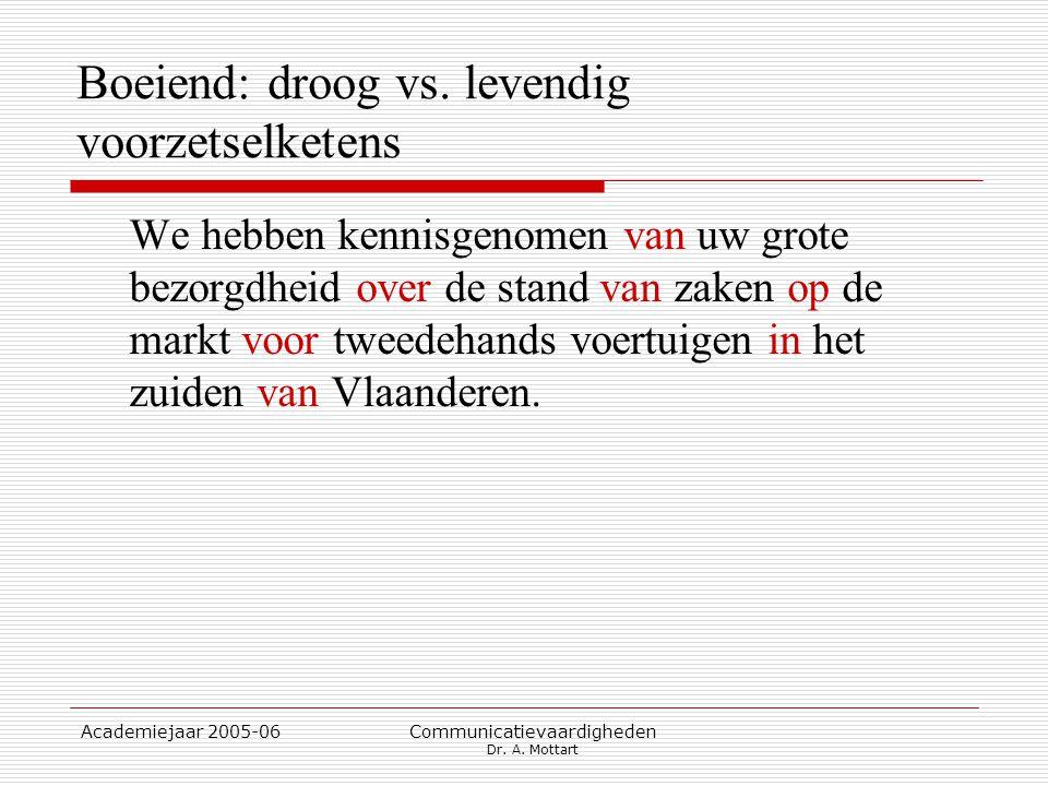 Academiejaar 2005-06 Communicatievaardigheden Dr. A. Mottart Boeiend: droog vs. levendig voorzetselketens We hebben kennisgenomen van uw grote bezorgd
