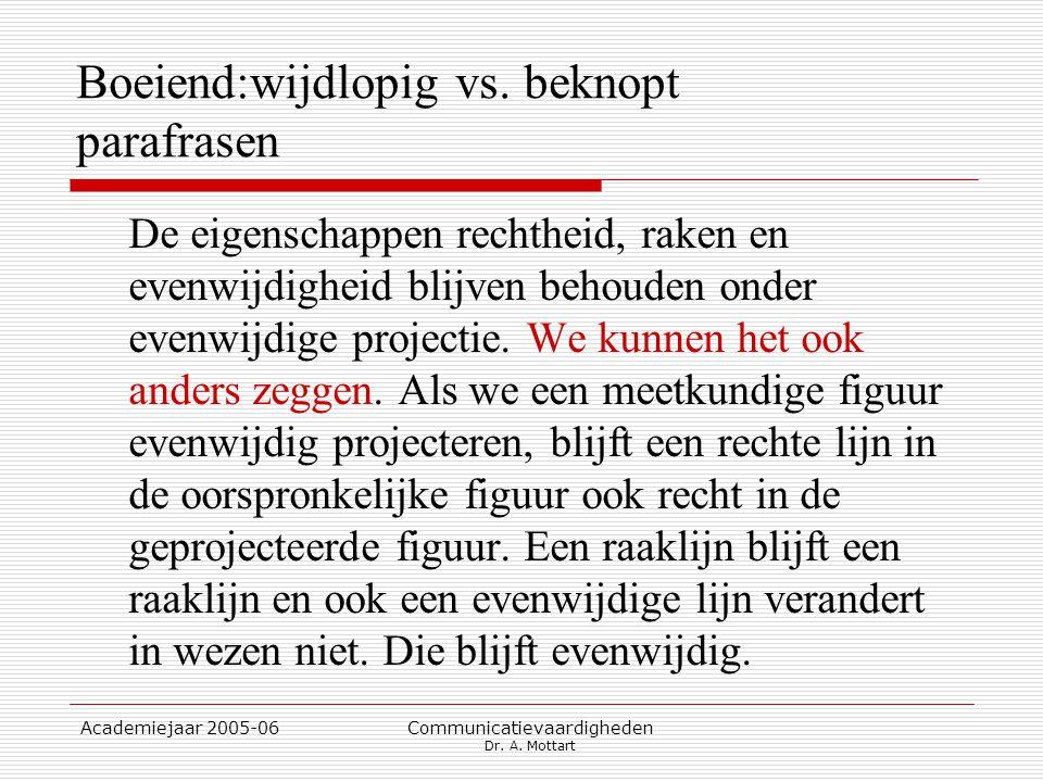 Academiejaar 2005-06 Communicatievaardigheden Dr. A. Mottart Boeiend:wijdlopig vs. beknopt parafrasen De eigenschappen rechtheid, raken en evenwijdigh