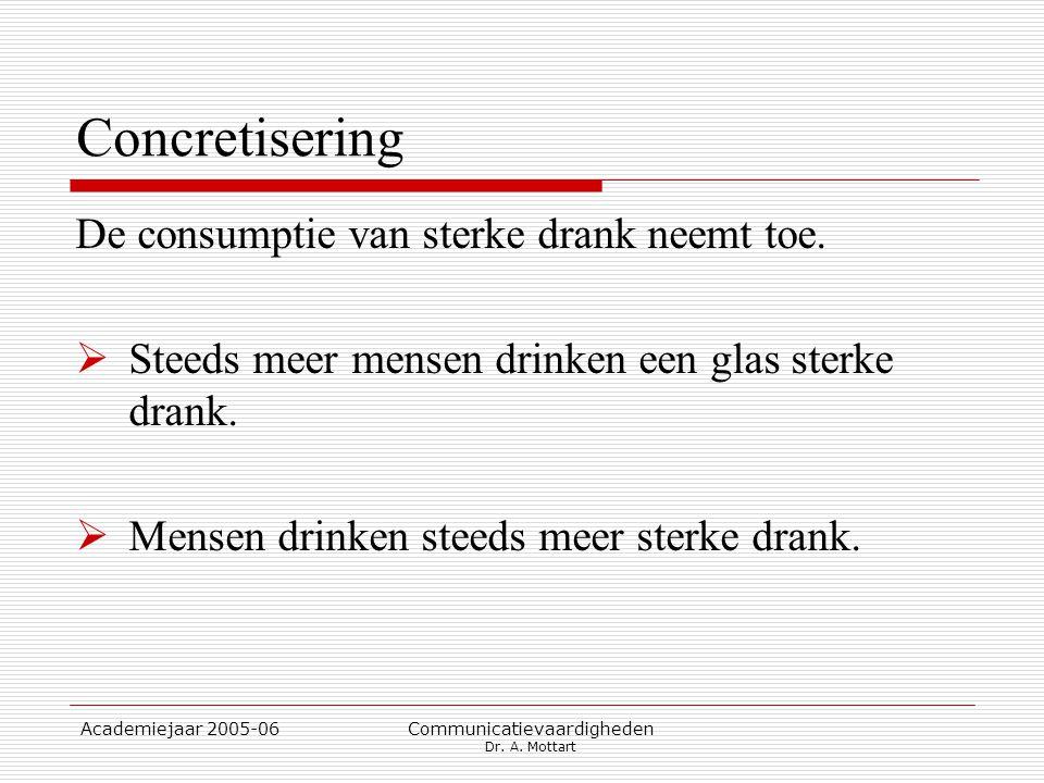Academiejaar 2005-06 Communicatievaardigheden Dr. A. Mottart Concretisering De consumptie van sterke drank neemt toe.  Steeds meer mensen drinken een