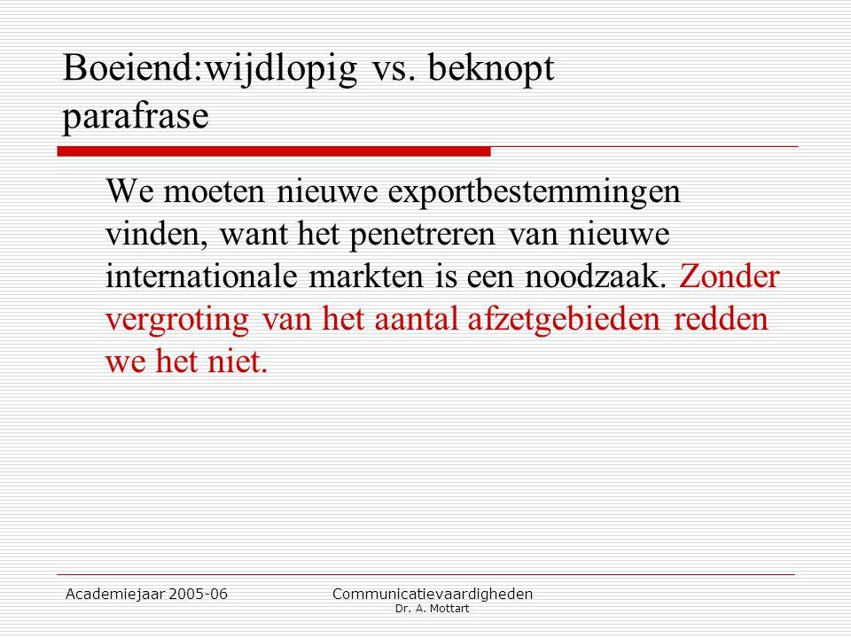 Academiejaar 2005-06 Communicatievaardigheden Dr. A. Mottart Boeiend:wijdlopig vs. beknopt parafrase We moeten nieuwe exportbestemmingen vinden, want
