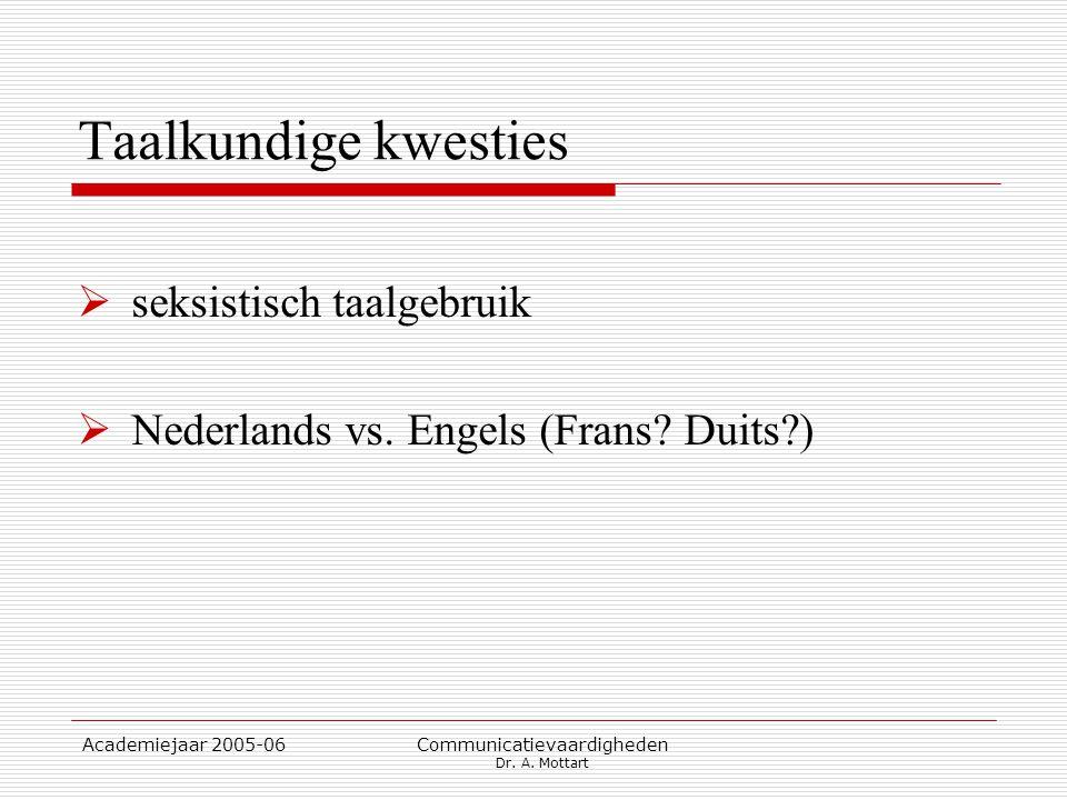 Academiejaar 2005-06 Communicatievaardigheden Dr. A. Mottart Taalkundige kwesties  seksistisch taalgebruik  Nederlands vs. Engels (Frans? Duits?)