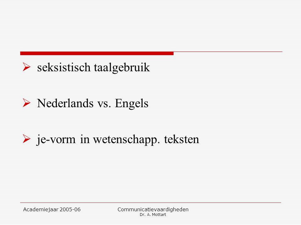 Academiejaar 2005-06 Communicatievaardigheden Dr. A. Mottart  seksistisch taalgebruik  Nederlands vs. Engels  je-vorm in wetenschapp. teksten