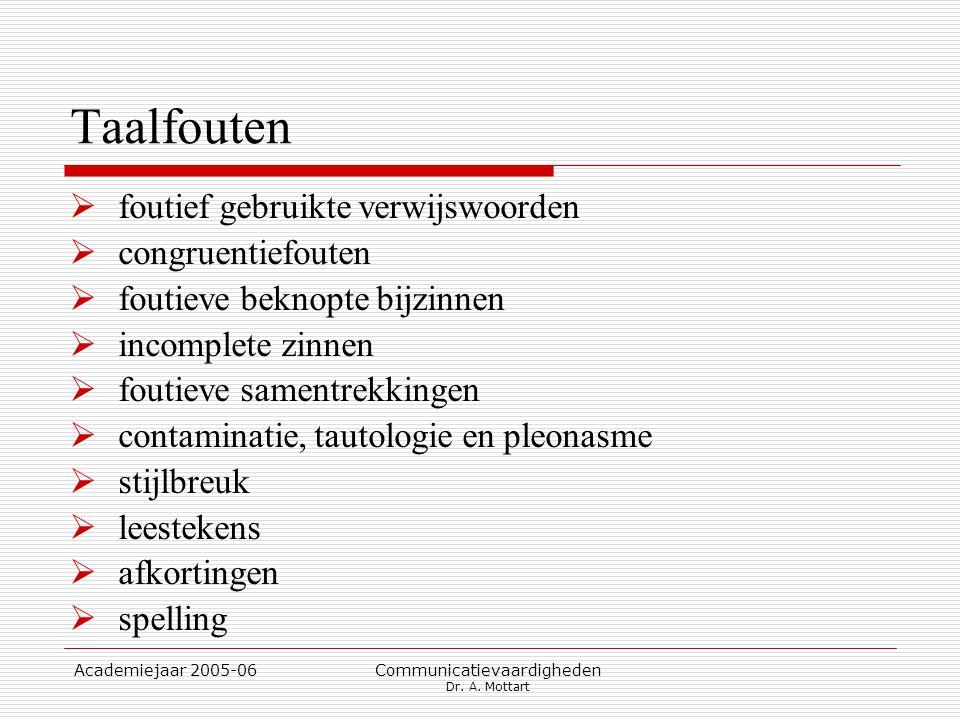 Academiejaar 2005-06 Communicatievaardigheden Dr. A. Mottart Taalfouten  foutief gebruikte verwijswoorden  congruentiefouten  foutieve beknopte bij