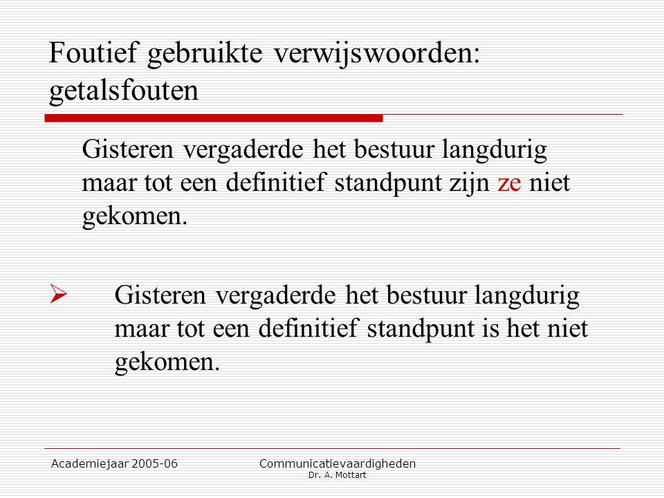 Academiejaar 2005-06 Communicatievaardigheden Dr. A. Mottart Foutief gebruikte verwijswoorden: getalsfouten Gisteren vergaderde het bestuur langdurig