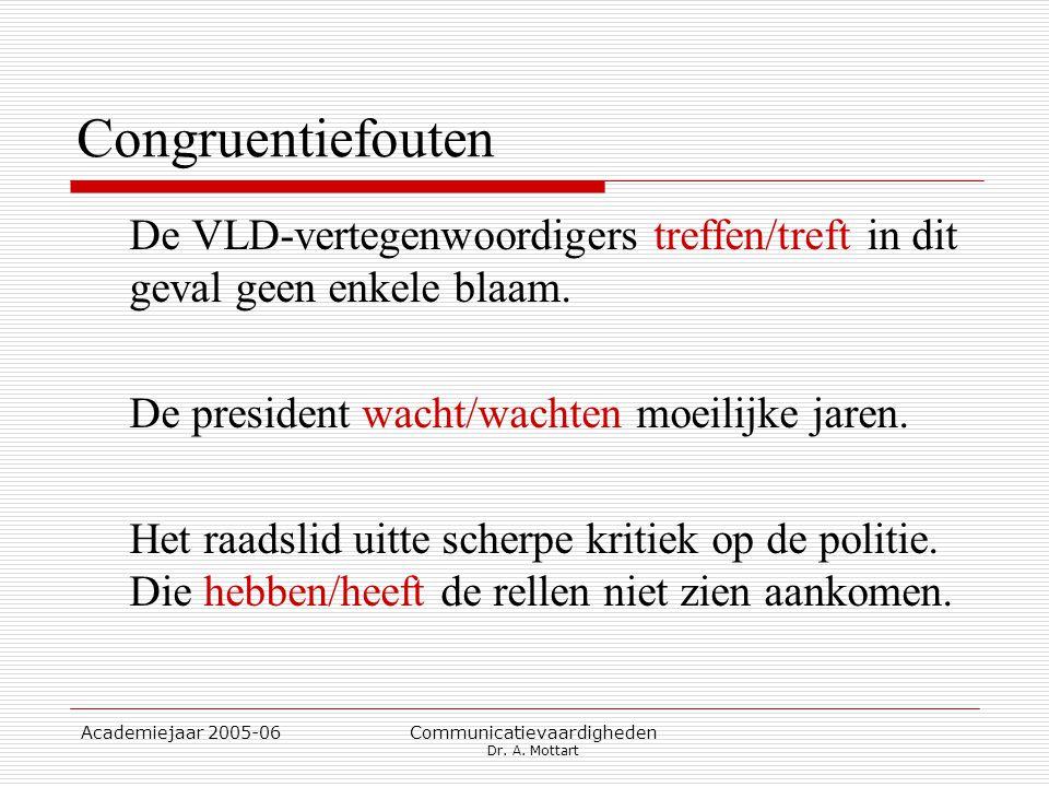 Academiejaar 2005-06 Communicatievaardigheden Dr. A. Mottart Congruentiefouten De VLD-vertegenwoordigers treffen/treft in dit geval geen enkele blaam.