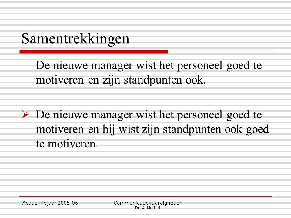 Academiejaar 2005-06 Communicatievaardigheden Dr. A. Mottart Samentrekkingen De nieuwe manager wist het personeel goed te motiveren en zijn standpunte