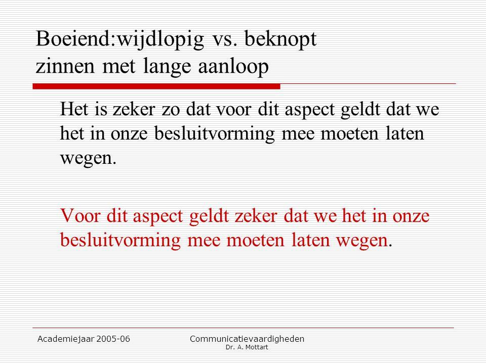 Academiejaar 2005-06 Communicatievaardigheden Dr. A. Mottart Boeiend:wijdlopig vs. beknopt zinnen met lange aanloop Het is zeker zo dat voor dit aspec