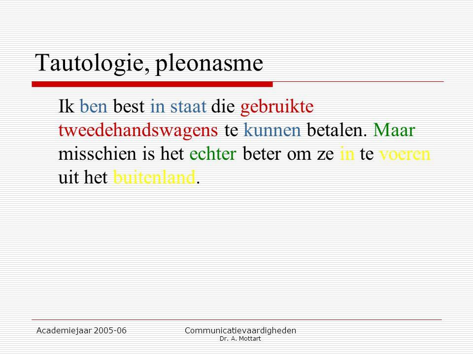 Academiejaar 2005-06 Communicatievaardigheden Dr. A. Mottart Tautologie, pleonasme Ik ben best in staat die gebruikte tweedehandswagens te kunnen beta