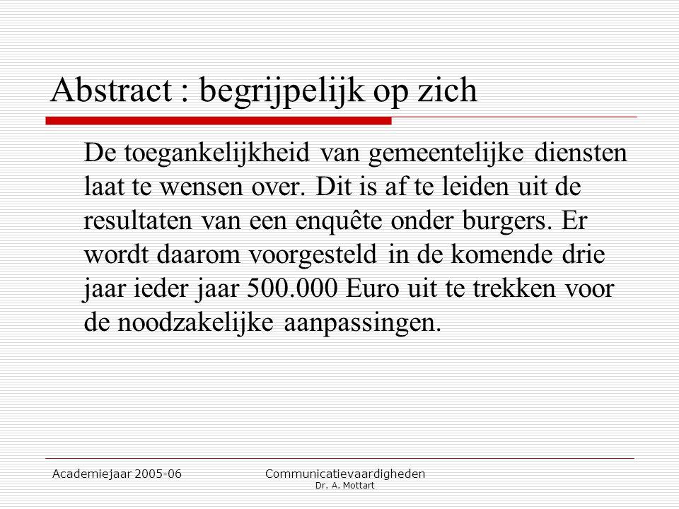 Academiejaar 2005-06 Communicatievaardigheden Dr. A. Mottart Abstract : begrijpelijk op zich De toegankelijkheid van gemeentelijke diensten laat te we