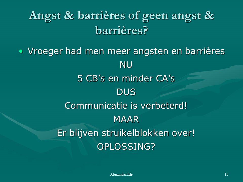 Alexander Ide15 Angst & barrières of geen angst & barrières.