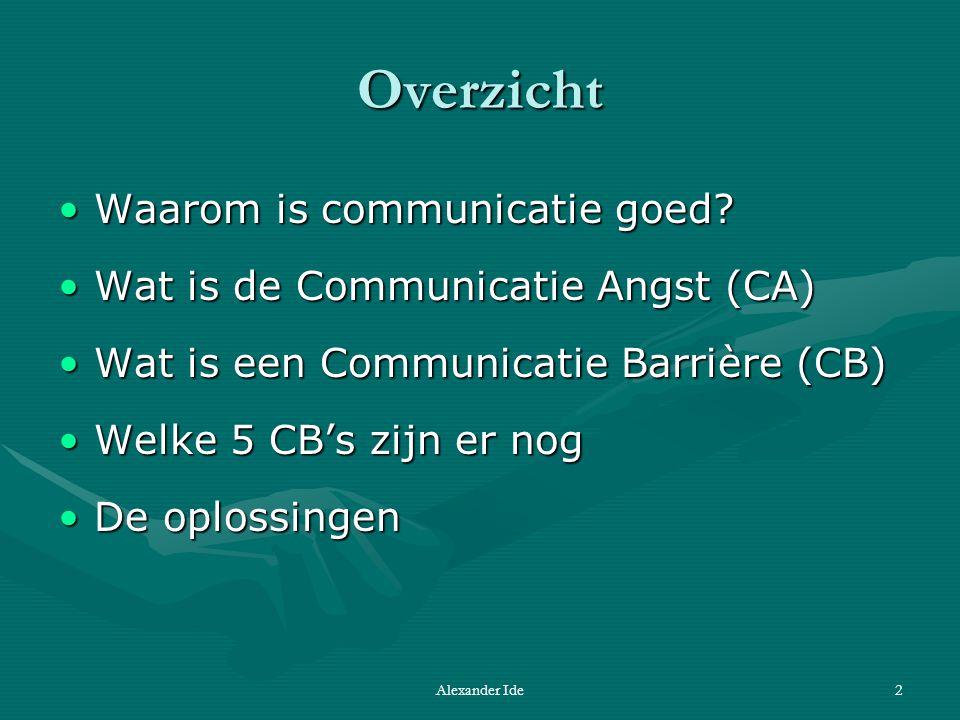 Alexander Ide2 Overzicht Waarom is communicatie goed Waarom is communicatie goed.