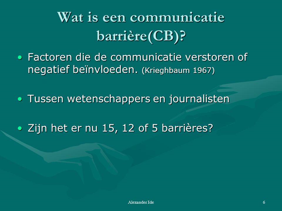 Alexander Ide6 Wat is een communicatie barrière(CB).