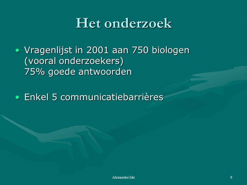 Alexander Ide8 Het onderzoek Vragenlijst in 2001 aan 750 biologen (vooral onderzoekers) 75% goede antwoordenVragenlijst in 2001 aan 750 biologen (vooral onderzoekers) 75% goede antwoorden Enkel 5 communicatiebarrièresEnkel 5 communicatiebarrières